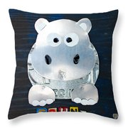 Grunt The Hippo License Plate Art Throw Pillow by Design Turnpike