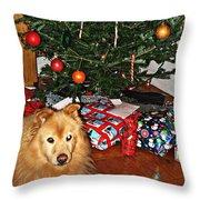 Guardian Of The Christmas Tree Throw Pillow by Sarah Loft
