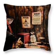 Guarding The Payroll Throw Pillow by Olivier Le Queinec