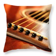 Guitar Bridge Throw Pillow by Elena Elisseeva