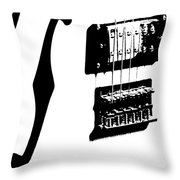 Guitar Graphic In Black And White Throw Pillow by Chris Berry