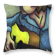 Guitar Man Throw Pillow by Kamil Swiatek