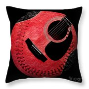 Guitar Strawberry Baseball Throw Pillow by Andee Design