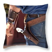 Gunfighter In Blue Throw Pillow by Art Block Collections
