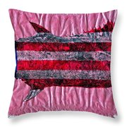 Gyotaku - American Spanish Mackerel - Flag Throw Pillow by Jeffrey Canha