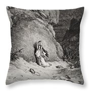 Hagar And Ishmael In The Desert Throw Pillow by Gustave Dore