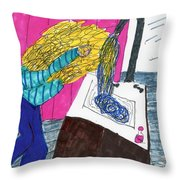 Hair Wash Throw Pillow by Elinor Rakowski