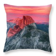 Half Dome Sunset From Glacier Point Throw Pillow by John Haldane