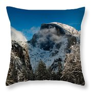 Half Dome Winter Throw Pillow by Bill Gallagher