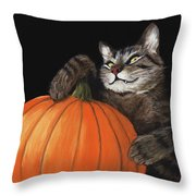 Halloween Cat Throw Pillow by Anastasiya Malakhova
