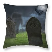 Halloween Graveyard Throw Pillow by Amanda And Christopher Elwell