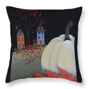 Halloween On Pumpkin Hill Throw Pillow by Catherine Holman