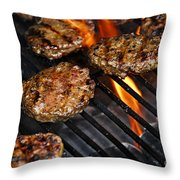 Hamburgers On Barbeque Throw Pillow by Elena Elisseeva