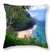 Hanakapiai Beach Throw Pillow by Brian Harig