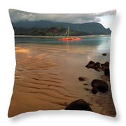 Hanalei Bay At Dawn Throw Pillow by Kathy Yates