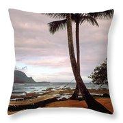 Hanalei Bay Hammock At Dawn Throw Pillow by Kathy Yates