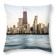 Hancock Building And Chicago Skyline Throw Pillow by Paul Velgos