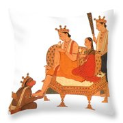 Hanuman Worshipping Rama Throw Pillow by Photo Researchers