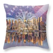 Happy Birthday America Throw Pillow by Susan Candelario