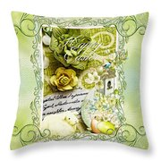 Happy Easter 3 Throw Pillow by Mo T