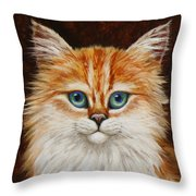 Happy Kitty Throw Pillow by Crista Forest