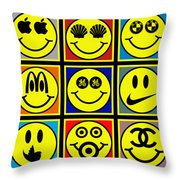 Happy Logos Throw Pillow by Tony Rubino