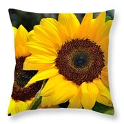 Happy Sunflowers Throw Pillow by Kaye Menner