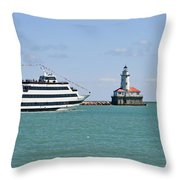 Harbor Light Chicago Throw Pillow by Christine Till