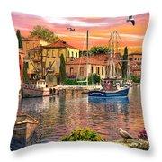 Harbour Sunset Throw Pillow by Dominic Davison