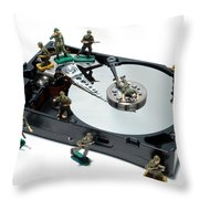Hard Drive Defense  Throw Pillow by Olivier Le Queinec