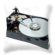 Hard Drive Firewall Throw Pillow by Olivier Le Queinec