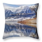 Hardy Fishermen Deer Creek Reservoir And Timpanogos In Winter Throw Pillow by Gary Whitton