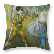 Harlequin And Columbine Throw Pillow by Edgar Degas