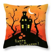 Haunted House Part One Throw Pillow by Linda Mears