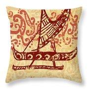 Hawaiian Canoe Throw Pillow by William Depaula