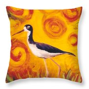 Hawaiian Stilt Sunset Throw Pillow by Anna Skaradzinska