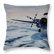 Hawker - Airplane On Ice Throw Pillow by Marilyn  McNish