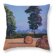 Hay-bales in Evening Light Throw Pillow by John Clark