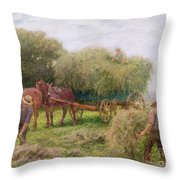 Haymaking Throw Pillow by Arthur Hopkins