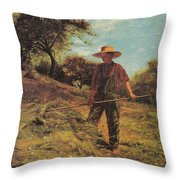 Haymaking Throw Pillow by Winslow Homer
