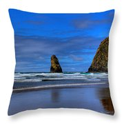 Haystack Rock And The Needles IIi Throw Pillow by David Patterson