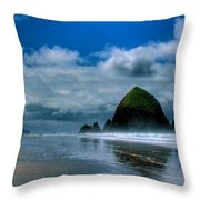 Haystack Rock Iv Throw Pillow by David Patterson
