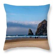 Haystack Rock Throw Pillow by Robert Bales