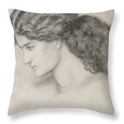 Head Of A Woman Throw Pillow by Dante Gabriel Charles Rossetti