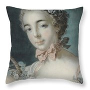 Head Of Flora Throw Pillow by Francois Boucher