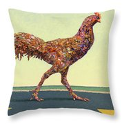 Head-on Chicken Throw Pillow by James W Johnson