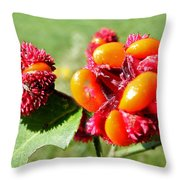 Hearts-a-Bursting Seed Pods Throw Pillow by Duane McCullough
