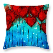 Hearts On Fire - Romantic Art By Sharon Cummings Throw Pillow by Sharon Cummings