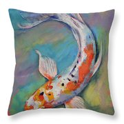 Heisei Nishiki Koi Throw Pillow by Michael Creese
