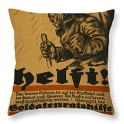 Help Throw Pillow by Louis Oppenheim